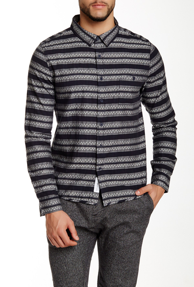 Imbracaminte Barbati NATIVE YOUTH Geo Stripe Long Sleeve Trim Fit Shirt GREY-NAVY