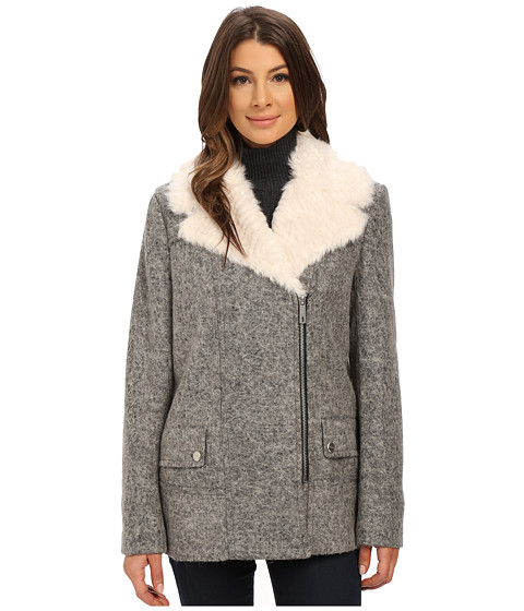 Imbracaminte Femei Kenneth Cole New York Novelty Wool Coat with Faux Fur Grey