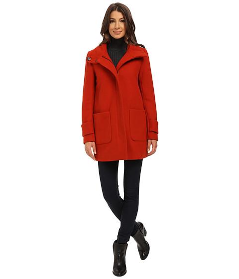 Imbracaminte Femei Kenneth Cole New York Funnel Neck Zip Front Wool Coat Chutney