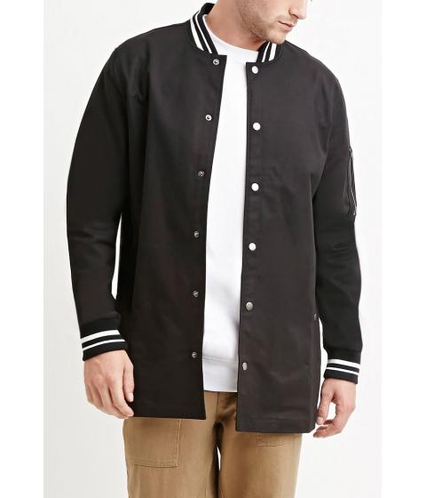 Imbracaminte Barbati Forever21 Varsity-Striped Longline Jacket Blackwhite