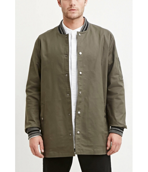 Imbracaminte Barbati Forever21 Varsity-Striped Longline Jacket Oliveheather grey