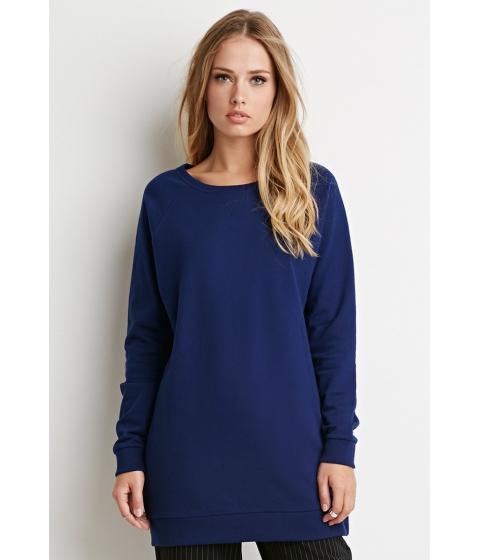 Imbracaminte Femei Forever21 Longline Raglan Sweatshirt Navy