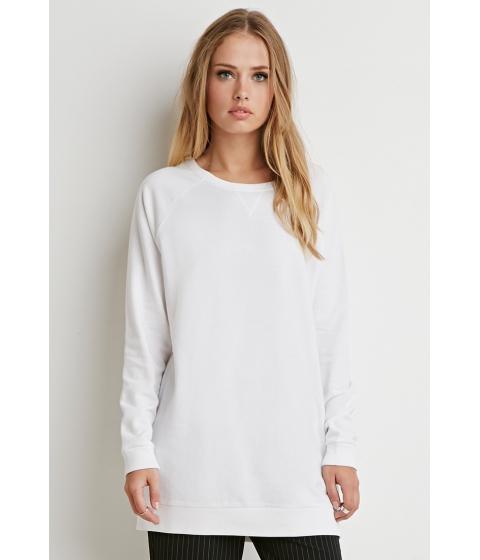 Imbracaminte Femei Forever21 Longline Raglan Sweatshirt White