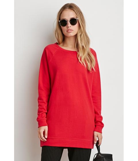 Imbracaminte Femei Forever21 Longline Raglan Sweatshirt Red