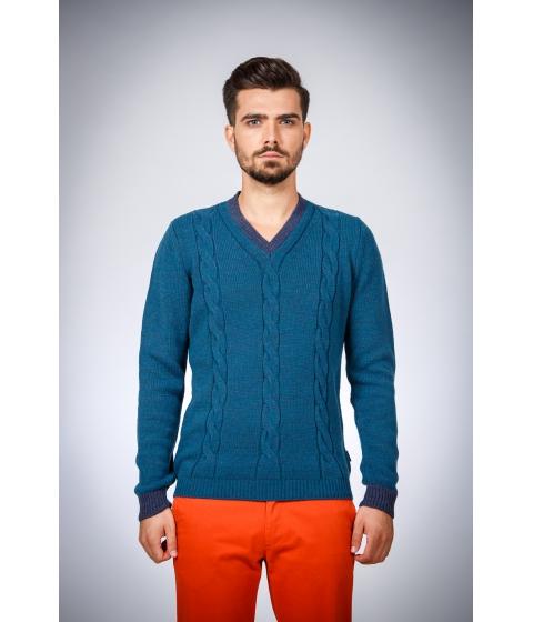 Imbracaminte Barbati Be You Pulover albastru cu cotiere contrast Multicolor