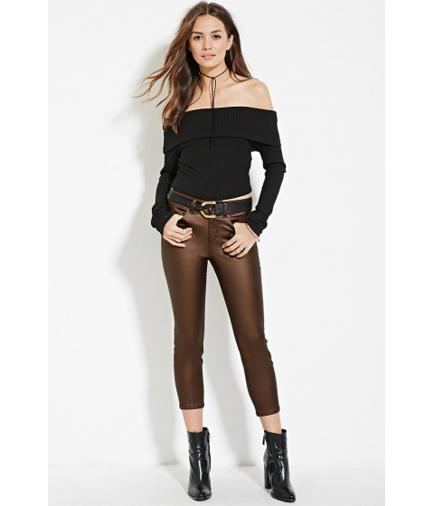Imbracaminte Femei Forever21 Contemporary Life in Progress Coated Skinny Jeans Copper