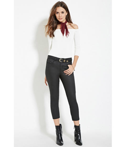 Imbracaminte Femei Forever21 Contemporary Life in Progress Coated Skinny Jeans Black