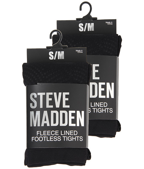 Imbracaminte Femei Steve Madden 2 Pack Fleece Solid and Dot Footless Tight Black