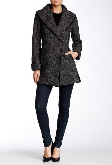 Imbracaminte Femei Trina Turk Jami Wrap Faux Suede Trim Wool Blend Coat BLACK TWEED