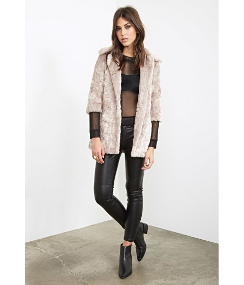 Imbracaminte Femei Forever21 Longline Faux Fur Coat Taupe