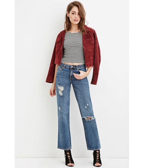 Imbracaminte Femei Forever21 Mid-Rise Wide Leg Cropped Jeans Medium denim