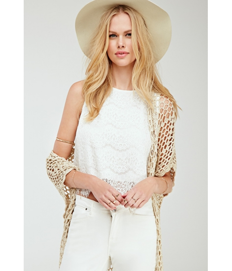 Imbracaminte Femei Forever21 Floral Lace Split-Back Top Cream