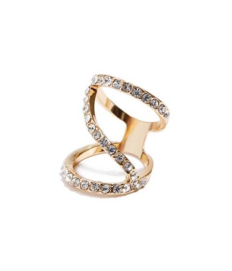 Bijuterii Femei GUESS Gold-Tone Pave Crisscross Ring gold