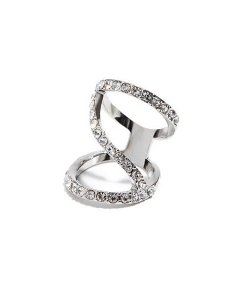 Bijuterii Femei GUESS Silver-Tone Pave Crisscross Ring silver