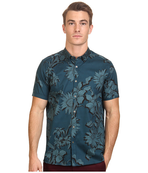 Imbracaminte Barbati Ted Baker Flowley Short Sleeve Large Scale Floral Shirt Teal