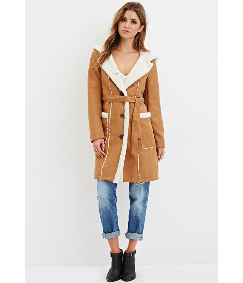 Imbracaminte Femei Forever21 Hooded Faux Suede Coat Camelcream