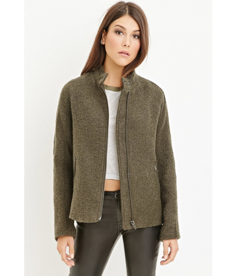 Imbracaminte Femei Forever21 Button-Collar Boucle Coat Olive