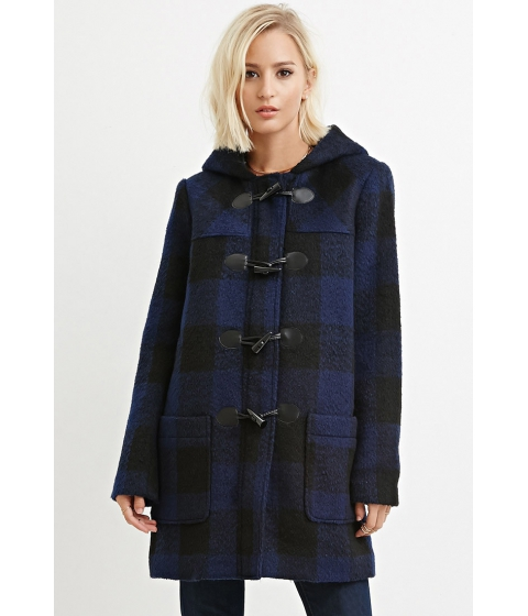 Imbracaminte Femei Forever21 Toggle-Front Plaid Coat Navyblack
