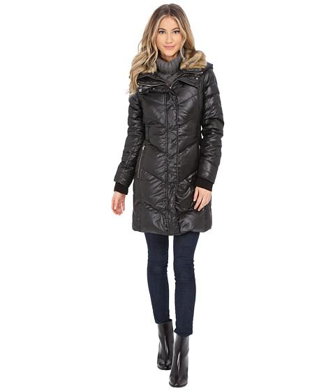 Imbracaminte Femei French Connection Puffer Coat w Fur Collar amp Inside Bib Black