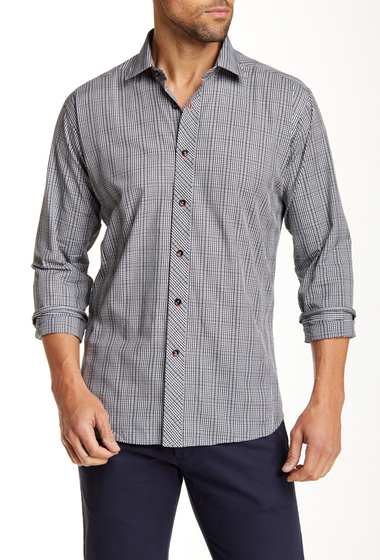 Imbracaminte Barbati Jared Lang Plaid Semi-Fitted Long Sleeve Shirt GREY CHECK