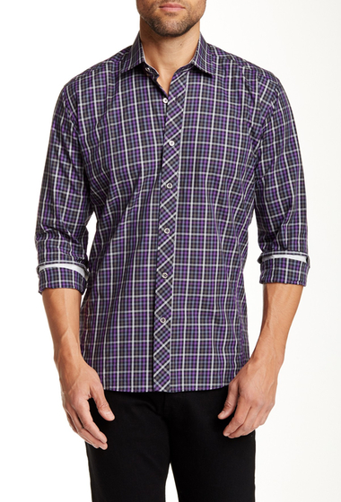 Imbracaminte Barbati Jared Lang Long Sleeve Tartan Print Semi-Fitted Shirt Purple Gingham