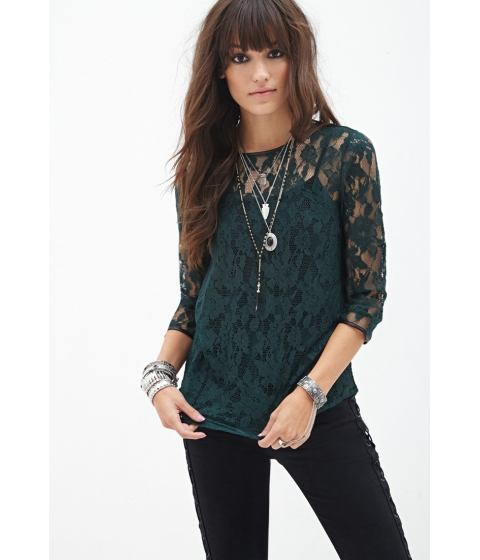 Imbracaminte Femei Forever21 Faux Leather-Trimmed Lace Top Green