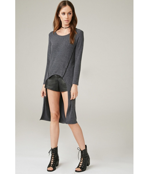 Imbracaminte Femei Forever21 Marina T Dropped-Hem Top Charcoal