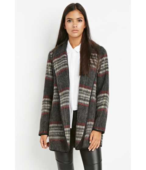 Imbracaminte Femei Forever21 Contemporary Plaid Open-Front Coat Charcoalred