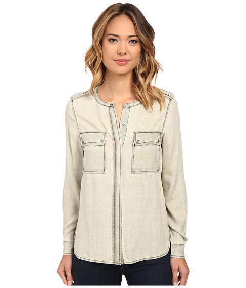 Imbracaminte Femei Vince Camuto Long Sleeve Pastel Fade Collarless Utility Shirt Wash Pine