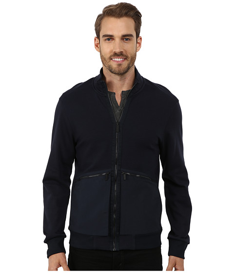 Imbracaminte Barbati Perry Ellis Mix Media Full Zip Jacket Dark Sapphire
