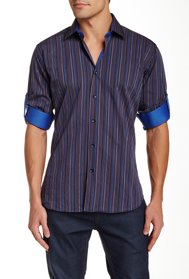 Imbracaminte Barbati Jared Lang Long Sleeve Striped Semi-Fitted Shirt Black and Blue Stripe
