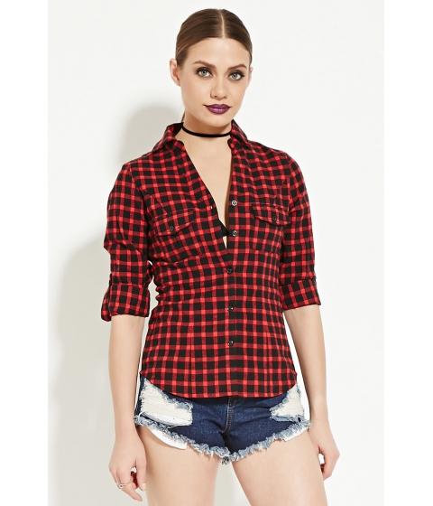 Imbracaminte Femei Forever21 Plaid Cotton Shirt Red