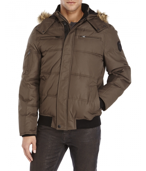 Imbracaminte Barbati Buffalo David Bitton Faux Fur Trim Snorkel Jacket Military Green