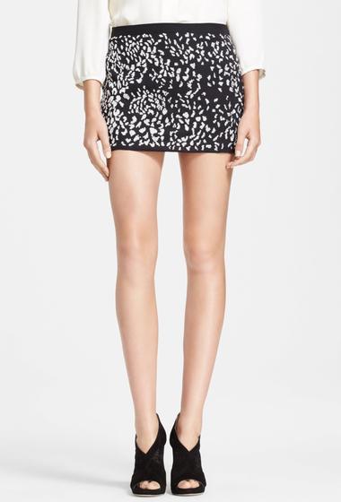 Imbracaminte Femei Haute Hippie Embellished Silk Miniskirt BLACK W MATTE WHITE