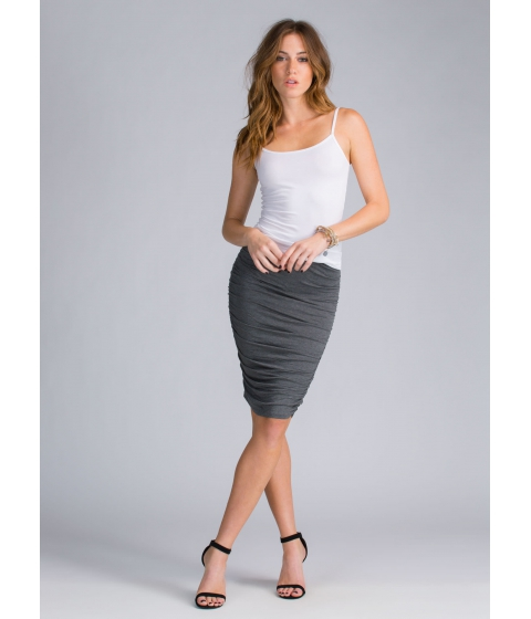 Imbracaminte Femei CheapChic Ruched And Ready Draped Midi Skirt Charcoal