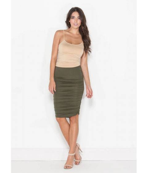 Imbracaminte Femei CheapChic Ruched And Ready Draped Midi Skirt Olive