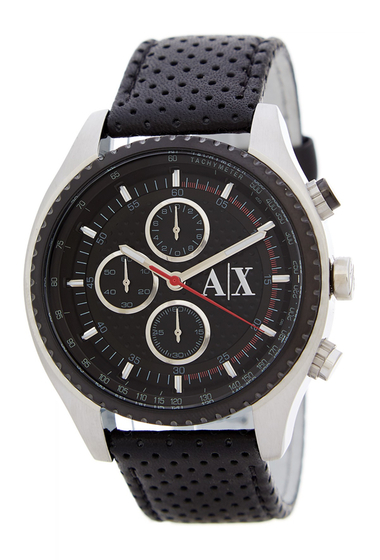 Ceasuri Barbati Armani Exchange Mens Black Leather Strap Watch BLACK