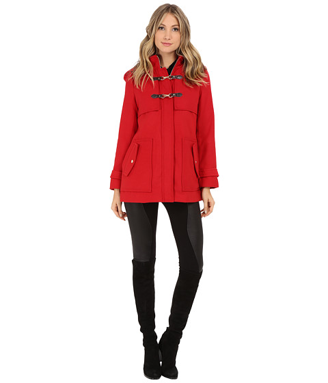 Imbracaminte Femei Jessica Simpson Zip Front Toggle Coat with Hood In Melton Touch Red