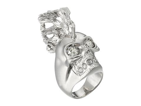 Bijuterii Femei Alexander McQueen Skull Punk Fish Small Ring Crystal Silver Shade