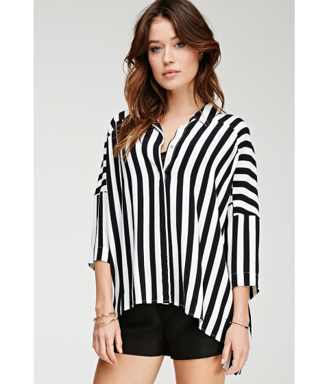 Imbracaminte Femei Forever21 Contemporary Oversized Striped Shirt Ivoryblack