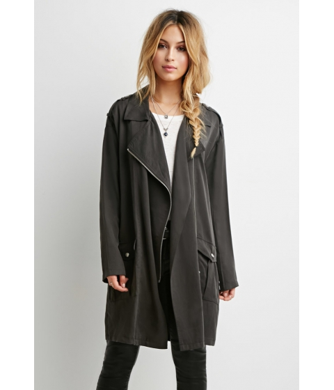 Imbracaminte Femei Forever21 Collared Longline Jacket Charcoal