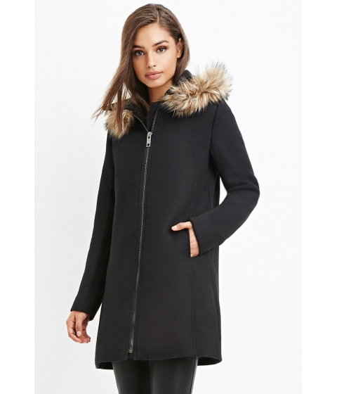 Imbracaminte Femei Forever21 Faux Fur-Trim Hooded Overcoat Black