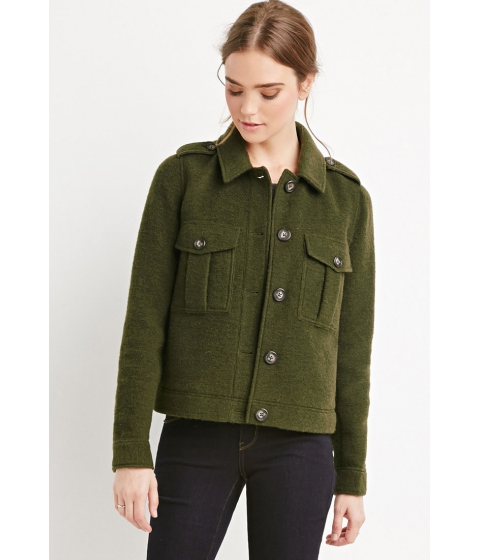 Imbracaminte Femei Forever21 Buttoned Wool-Blend Jacket Olive