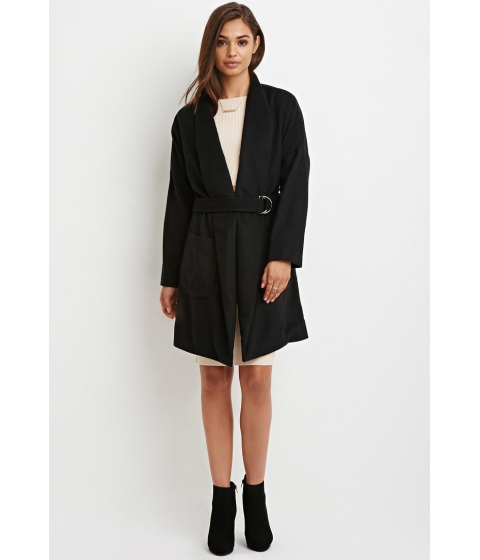 Imbracaminte Femei Forever21 Shawl Collar Belted Coat Black