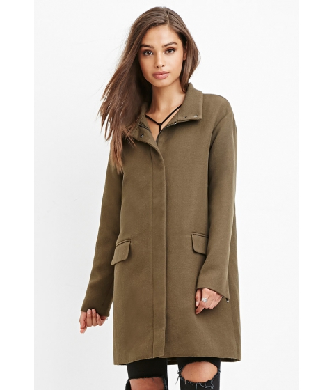 Imbracaminte Femei Forever21 Flap Pocket Boxy Coat Olive