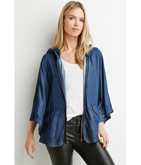 Imbracaminte Femei Forever21 Contemporary Life in Progress Hooded Chambray Poncho Dark denim