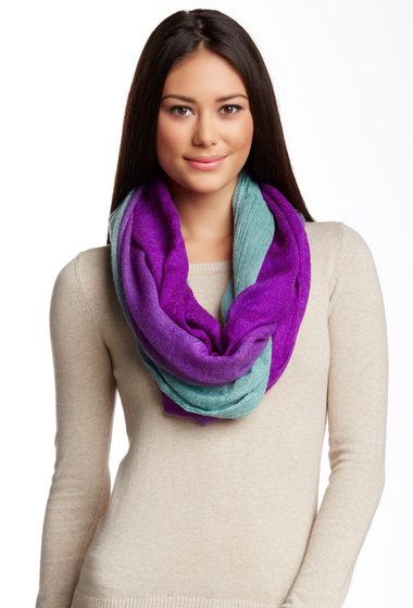 Accesorii Femei Blue Pacific Two-Tone Brushed Gauze Infinity Scarf AQUA-PURPLE