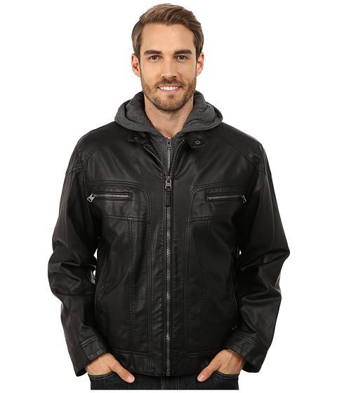 Imbracaminte Barbati Calvin Klein Faux Leather Hoodie Jacket Black