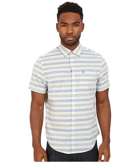 Imbracaminte Barbati Original Penguin Horizontal Stripe Short Sleeve Woven Heritage Shirt Cool Blue
