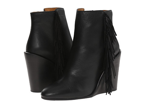 Incaltaminte Femei See by Chloe Pebbled Leather Wedge Bootie with A Fringe Black